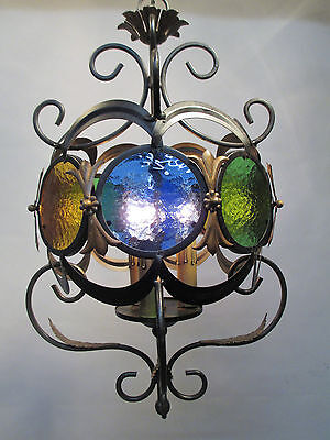 Vintage Antique Italian Black Stained Glass Chandelier Boho Style Retro 38 1/2""