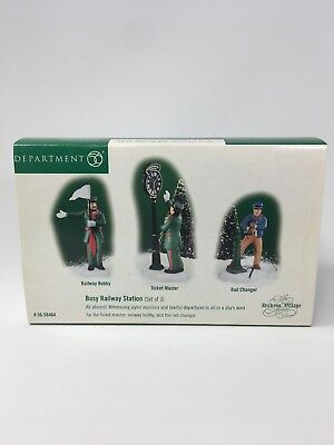 Department 56 Dickens Village Accessories Busy Railway Station  S/3 Mint In Box