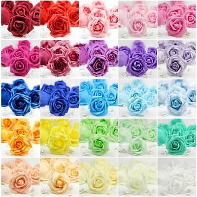 20X 50X Foam Roses Artificial Fake Flowers Heads Wedding Bouquet DIY Party Decor