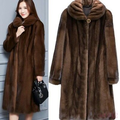 New Womens Lady Real Mink Fur Coat Casual Coat Trench Jacket Parka Warm Outwear