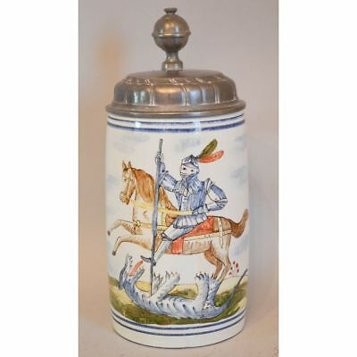 Antique Hand Painted St. George Slaying Dragon Faience Beer Stein, Signed DT
