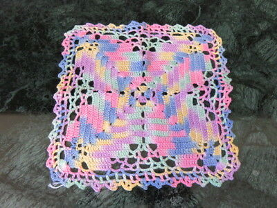 "VINTAGE CROCHET DOILY - MULTI -COLORED PASTEL - 8"" by 8"""