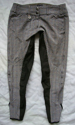 Checked Breeches PIKEUR CINDY Contrast / full seat /  LOW WAIST__ size US 26/28