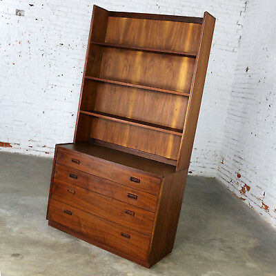 Two Piece Bookcase Display Cabinet Attributed to Founders Furniture Mid Century