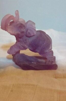 Polyresin Elephant figurine Light Purple/Lavender TRUNK UP FOR GOOD LUCK!! L@@K!