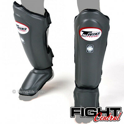 Twins Leather Shin Pads - Grey - FREE P&P - Muay Thai, MMA, Martial Arts