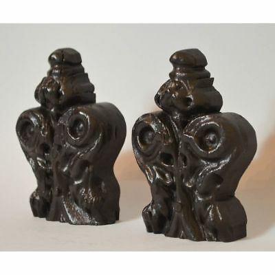 Small Pair of Antique Carved Walnut French Gothic Style Architectural Finials