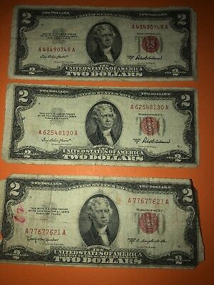 Lot of 3 Red Seal $2 bills all 1953 series