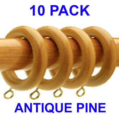 10 Pack ANTIQUE PINE Super Strong Curtain Rings to fit 28mm Wooden Curtain Poles