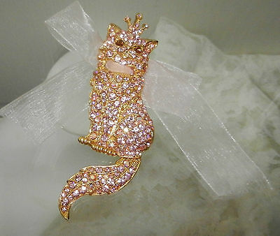 Lauren Spencer Pin Brooch Pendant Austrian Crystal Encrusted Cat w Moveable Tail