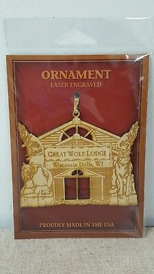 Great Wolf Lodge Wisconsin Dells Laser Engraved Wood Ornament New In Package