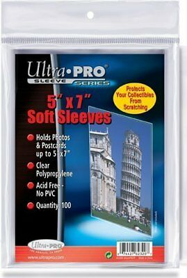 100 Ultra Pro 5 x 7 Soft Sleeves - Photo Foto Postcards Cards