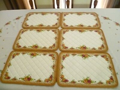 6 X   Royal Albert Old Country Roses Material Made Uk Place Mats