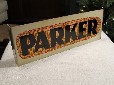 VINTAGE PARKER SEED CORN FLANGE DOUBLE SIDED SIGN farm advertising