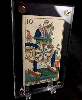 c1845 Wheel of Fortune Authentic Antique Tarot Playing Cards Italian Single +COA