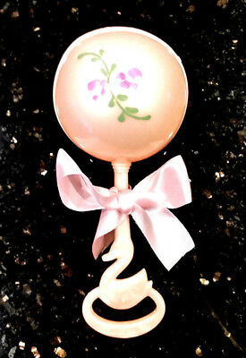 Vintage 1950s Celluloid Baby Girl Plakie Toy Pink Infant Toddler Rattle NEW MINT