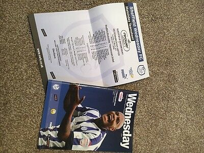 Sheffield Wednesday v Peterborough United Programme cw Team Sheet