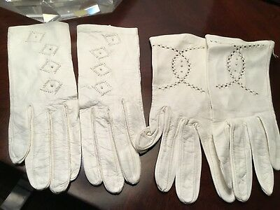 Vintage Childs Antique White Leather Gloves, 2 Pair beautiful condition