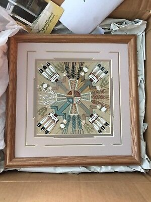 Navajo Sand Painting by Nleson Cambridge with original papers 13.5 x 13.5