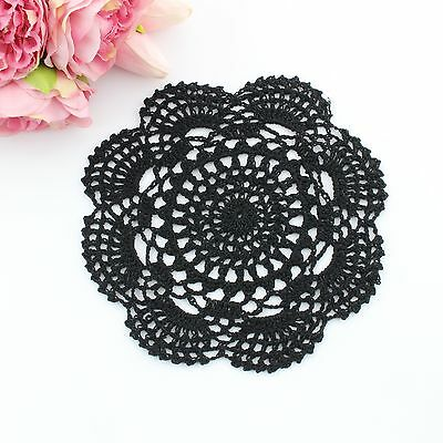 Crochet doily in black 20 - 22 cm for millinery , hair and crafts
