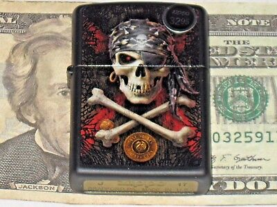 A New USA Windproof ZIPPO Oil Lighter 78819 Anne Stokes Collection Pirate Skull