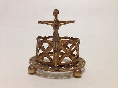 Vintage Catholic Votive Candle Holder W/ Crucifix - Very Good Condition