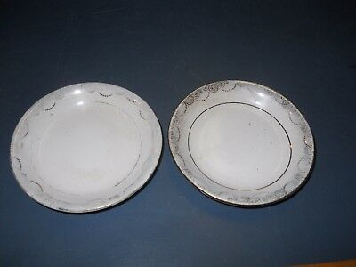 Vintage Lot 2 Porcelain White China Butter Pats With Flowers Pattern Some Fading