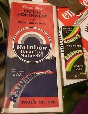 Rare True's Oil Co. Rainbow Gasoline Road Map + Matchbook - 30s 40s Can Sign