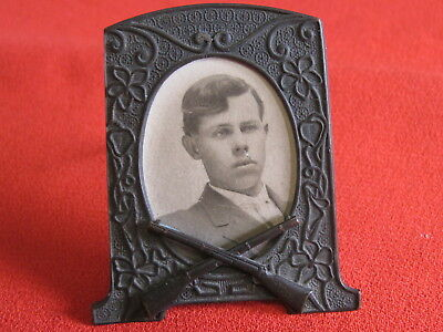 Antique Sheffield Silver Picture Frame With Crossed Rifles