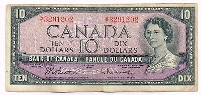 1954 (1961-71) CANADA TEN DOLLARS NOTE - p79b
