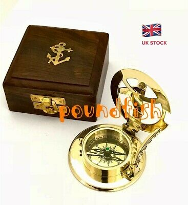 Solid Brass Nautical Sundial & Compass With Hardwood Box- HATTON GARDEN LONDON