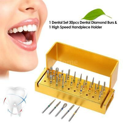 1 Set dentaire 30pcs Dental Diamond Burs Drill Disinfection + porte en J3B8