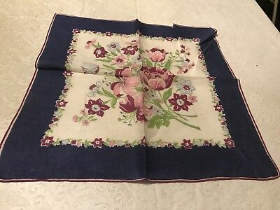 Vintage Colorful Vivid Tulip Daisies, Orchid On White w Blue Border Hanky