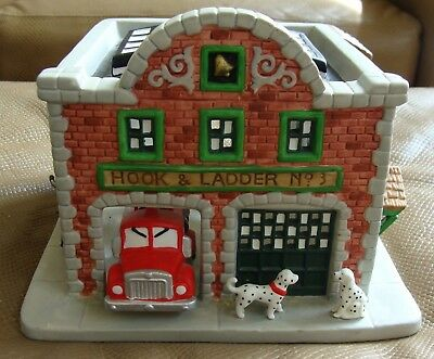 """Hook & Ladder No 3 Fire Station by PartyLite - Bisque Porcelain - 8"""" x 7"""" x 5""""h"""