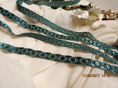 VINTAGE RARE UNIQUE RAYON SILK VICTORIAN TEAL TRIM HIGH  END ENDLESS USES t50