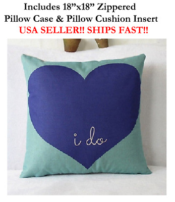"""18"""" 18in 18x18 I DO WILL YOU MARRY ME ENGAGEMENT Zippered Throw Pillow cushion"""