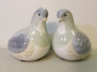 Lovely Pair of Vintage Ethan Allen Porcelain Partridges / Doves / Birds