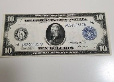 1914 $10 Large Size Federal Reserve Note of Boston Mass A-1