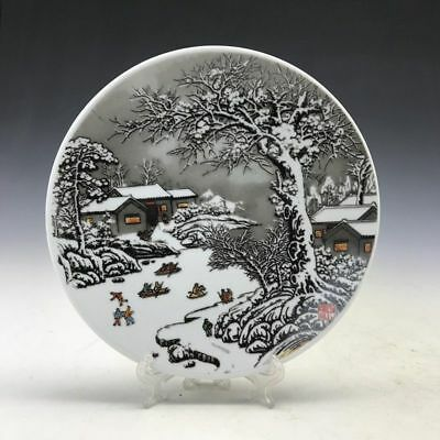 Chinese old craft pure ceramic dish of pure hand-painted snow scenery map