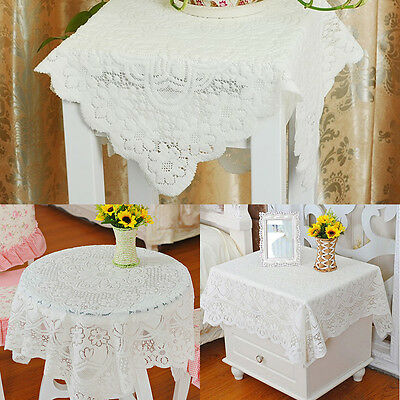 yazi Square Tablecloth White Lace Flower Doily Table Cloth Decorative Cover Gift