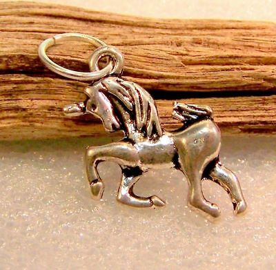 Unicorn Charm Sterling Silver Plated Dangle Charm for Bracelet with Ring Pendant