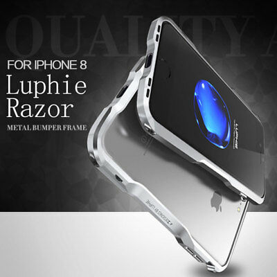 For iPhone X 8 7 Plus LUPHIE Slim Aluminum Metal Bumper Hybrid Frame Cover Case