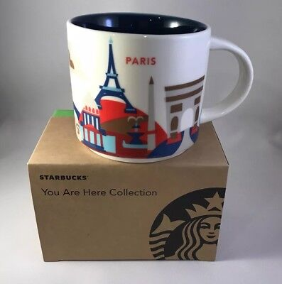 """STARBUCKS PARIS """"YOU ARE HERE"""" Coffee Cup Mug NEW 14 ounce"""