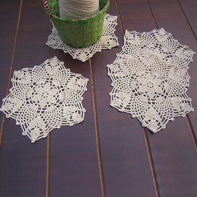 Doily Coasters Doilies Table Mat Handmade Crochet Cotton Lace Placemat 22cm