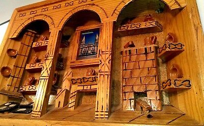 Wooden Folk Wall Art Diorama 3D Picture Shadow Box Hand Crafted Mexico Vintage