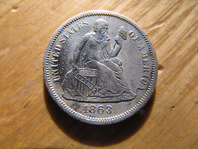 1863-S XF Silver Seated Liberty Dime 10 cents