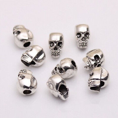 DIY For Bracelet Charms Skull Head Jewelry Making Spacer Beads Antique Silver