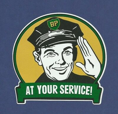 "BP ""AT YOUR SERVICE"" VINYL DECAL STICKER PROMO PETROL OILS GAS Ford Holden VW"