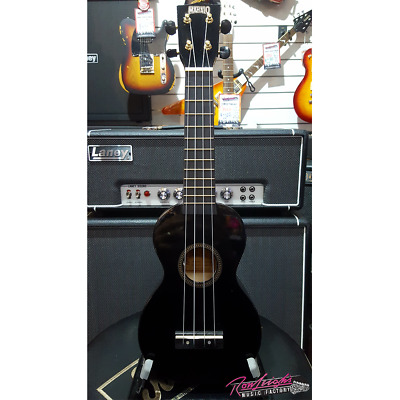 Mahalo MR1 Rainbow Series Soprano Ukulele in Black with Aquila Strings and Bag