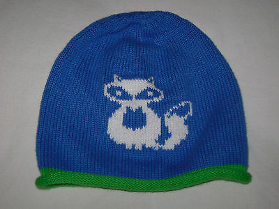 Hanna Andersson Blue Cotton Snug As A Bug Hat Raccoon size M